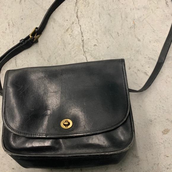 Coach Vintage black leather flap over crossbody